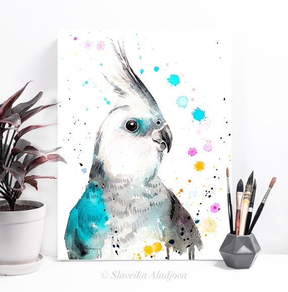 Cockatiel parrot watercolor painting print by Slaveika Aladjova, art, animal, illustration, bird, home decor, Wildlife, Contemporary