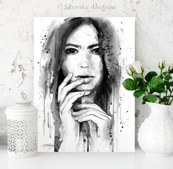 Black and white Girl watercolor painting print by Slaveika Aladjova, Fashion Illustration, Woman art, Illustration, watercolour, home decor