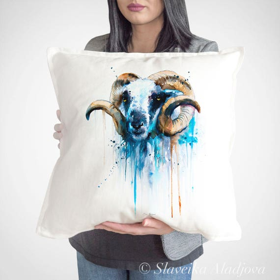 Sheep throw pillow cover by Slaveika Aladjova, cushion cover, Decorative Pillow Cover, Animal Art, Watercolor pillow,Christmas gift