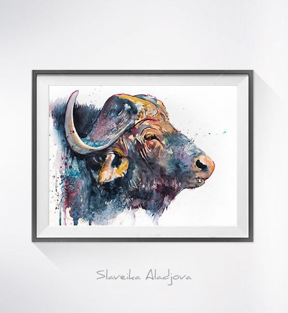 Original Watercolour Painting- African buffalo art, animal illustration, animal watercolor, animals paintings, animals, portrait,