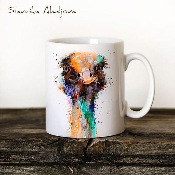 Ostrich Mug Watercolor Ceramic Mug Unique Gift Coffee Mug Animal Mug Tea Cup Art Illustration Cool Kitchen Art Printed mug dog