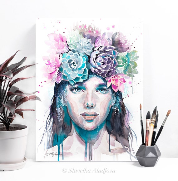 Girl with succulents watercolor painting print by Slaveika Aladjova, Fashion Illustration, Woman art, Girl Illustration, watercolour, wall