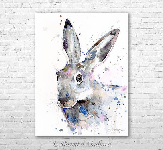 Jackrabbit watercolor painting print by Slaveika Aladjova, art, animal, illustration, home decor, Nursery, gift, Wildlife, wall art, rabbit