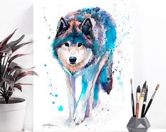 Wolf watercolor painting print by Slaveika Aladjova, art, animal, illustration, home decor, Nursery, gift, Wildlife, wall art,Contemporary