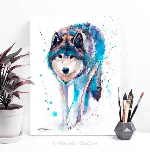 Wolf watercolor painting print by Slaveika Aladjova, art, animal, illustration, home decor, Nursery, gift, Wildlife, wall art,Contemporary