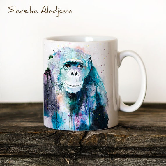 Chimp Chimpanzee Mug Watercolor Ceramic Mug Unique Gift Coffee Mug Animal Mug Tea Cup Art Illustration Cool Kitchen Art Printed mug