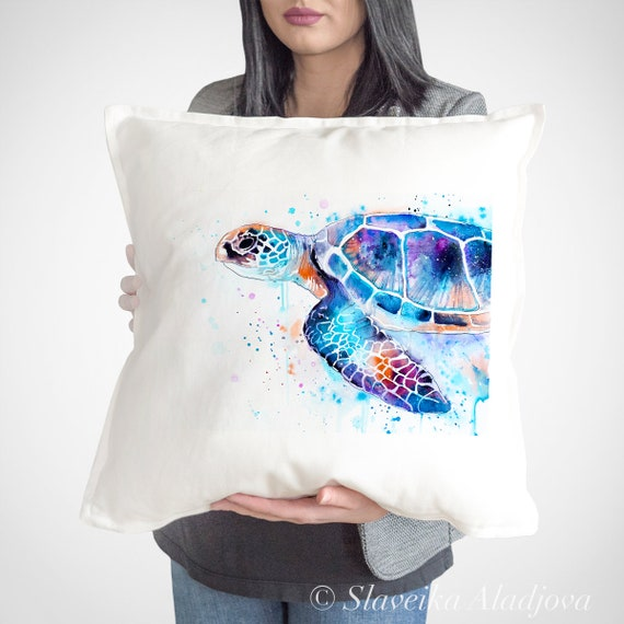 Sea turtle throw pillow cover by Slaveika Aladjova, cushion cover, Decorative Pillow Cover, ocean art, sea life, Watercolour, Christmas gift