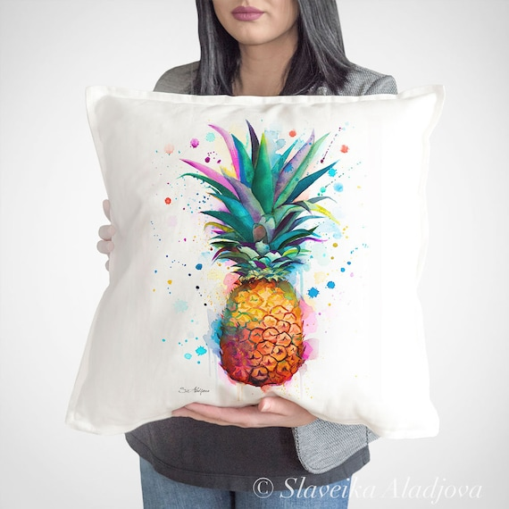Pineapple throw pillow cover by Slaveika Aladjova, cushion cover, Decorative Pillow Cover, Art, Watercolor pillow, Christmas gift
