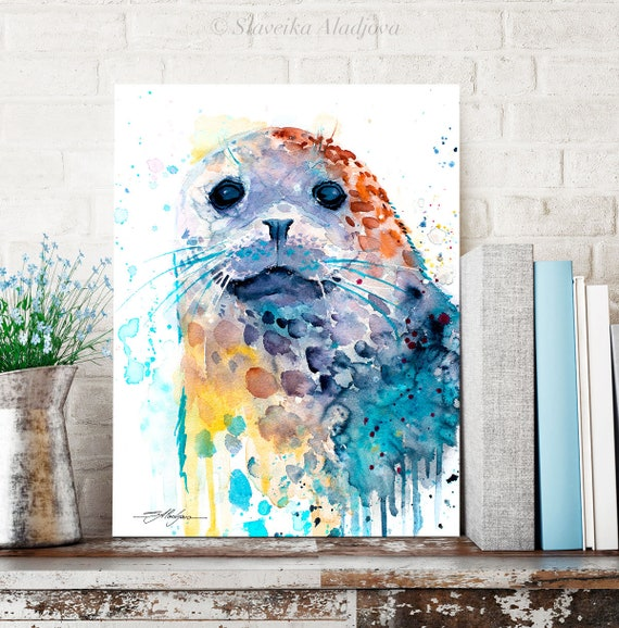 Harbor seal watercolor painting print by Slaveika Aladjova, art, animal, illustration, Sea art, sea life art, home decor, Wall art