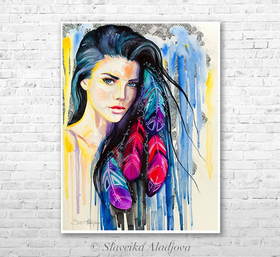 Colorful Feathers watercolor painting print by Slaveika Aladjova, Fashion Illustration, Illustration, watercolour, wall art, home decor