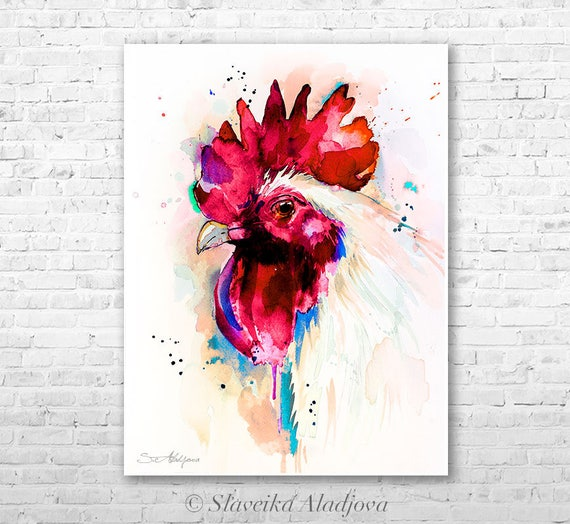 White Rooster 2 watercolor painting print by Slaveika Aladjova, animal, illustration, bird, Rooster art, Chicken art, kitchen art, colorful