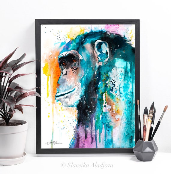 Colorful Chimp Chimpanzee watercolor framed canvas by Slaveika Aladjova, Limited edition, art, animal watercolor, animal illustration,