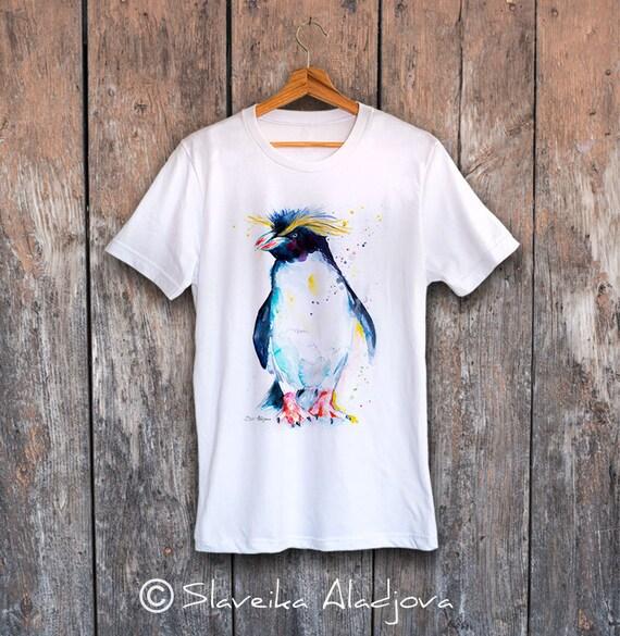 Rockhopper penguin T-shirt, Unisex T-shirt, ring spun Cotton 100%, watercolor print T-shirt,T shirt art,T shirt animal, XS, S, M, L, XL, XXL