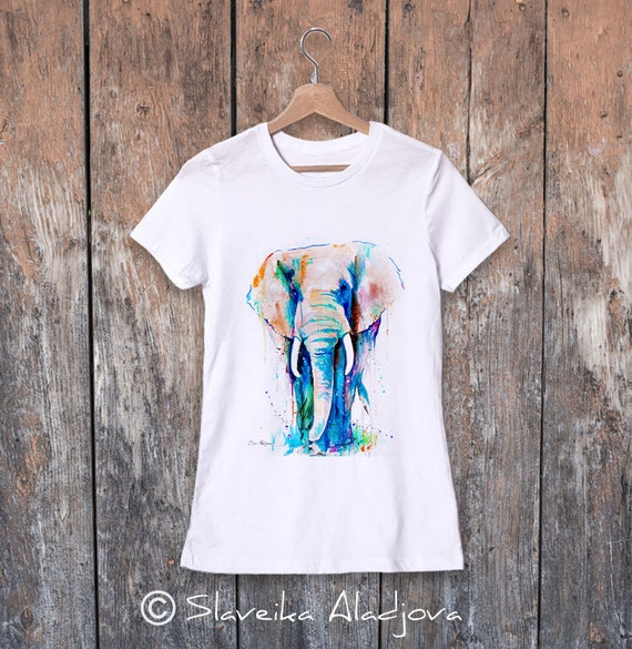 African Elephant watercolor ladies' T-shirt, women's tees, Teen Clothing, Girls' Clothing, ring spun Cotton 100%, watercolor print
