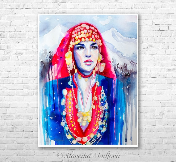 Fashion Illustration 9 watercolor painting print by Slaveika Aladjova, Woman art, Girl Illustration, Bulgarian national costume, wall art
