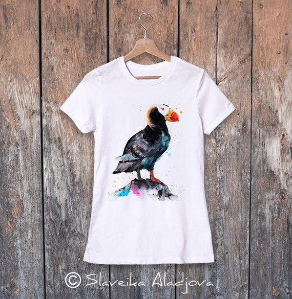 Tufted puffin watercolor ladies' T-shirt, women's tees, Teen Clothing, Girls' Clothing, ring spun Cotton 100%, watercolor print