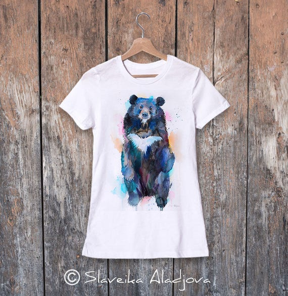 Asian black bear, Moon Bear watercolor ladies' T-shirt, women's tees, Teen Clothing, Girls' Clothing, ring spun Cotton 100%,watercolor print