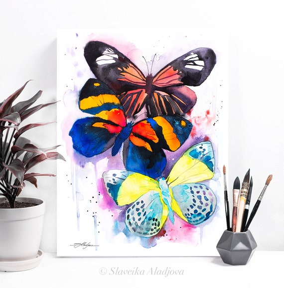 Colorful Butterfly painting print by Slaveika Aladjova, art, animal, illustration, home decor, Nursery, wall art,