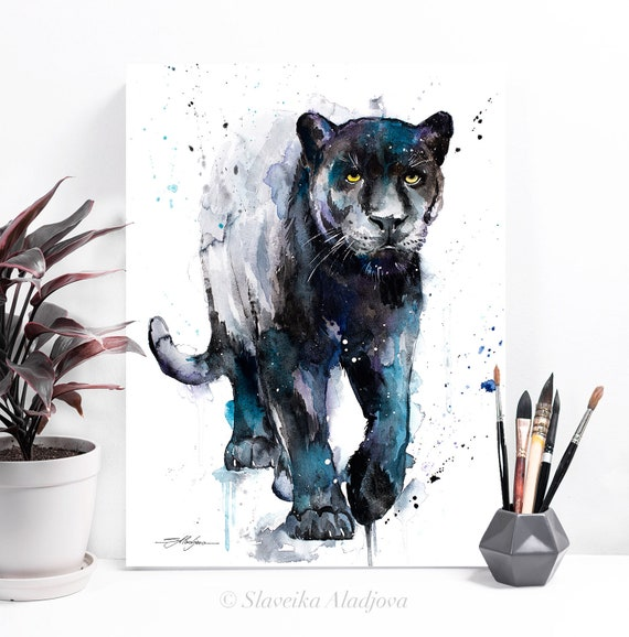 Black panther watercolor painting print by Slaveika Aladjova, art, animal, illustration, home decor, Nursery, gift, Wildlife, wall art, cat