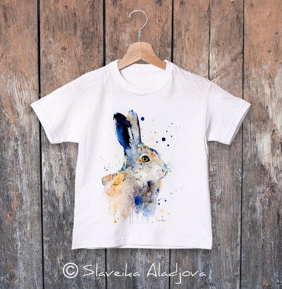 Hare Rabbit watercolor kids T-shirt, Boys' Clothing, Girls' Clothing, ring spun Cotton 100%, watercolor print T-shirt,T shirt art