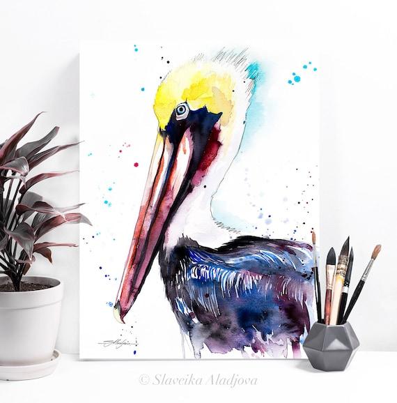 Brown pelican watercolor painting print by Slaveika Aladjova, art, animal, illustration, bird, home decor, wall art, gift, Wildlife