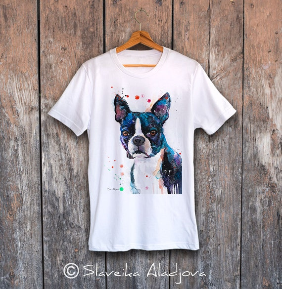Boston Terrier T-shirt, Unisex T-shirt, ring spun Cotton 100%, watercolor print T-shirt, T shirt art, T shirt animal,XS, S, M, L, XL, XXL