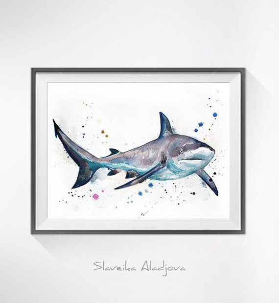 Original Watercolour Painting- Grey reef shark  art, animal illustration, animal watercolor, animals paintings, animals, portrait,