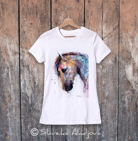 Horse watercolor ladies' T-shirt, women's tees, Teen Clothing, Girls' Clothing, ring spun Cotton 100%, watercolor print T-shirt,art