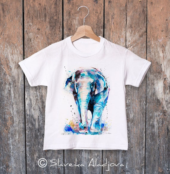 Asian Elephant  watercolor kids T-shirt, Boys' Clothing, Girls' Clothing, ring spun Cotton 100%, watercolor print T-shirt, T shirt art