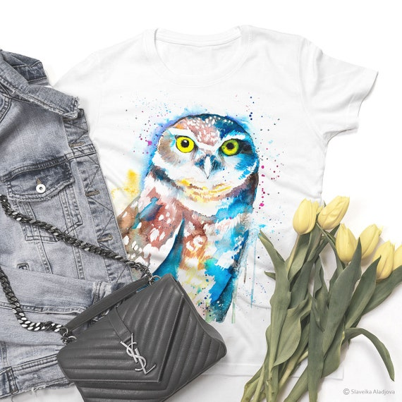 Burrowing owl watercolor ladies' T-shirt, women's tees, Teen Clothing, Girls' Clothing, ring spun Cotton 100%, watercolor print