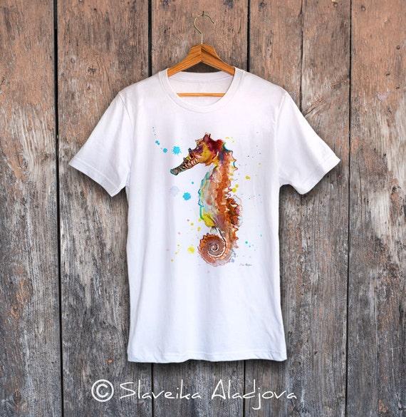 Seahorse T-shirt, Unisex T-shirt, ring spun Cotton 100%, watercolor print T-shirt, T shirt art, T shirt animal,XS, S, M, L, XL, XXL