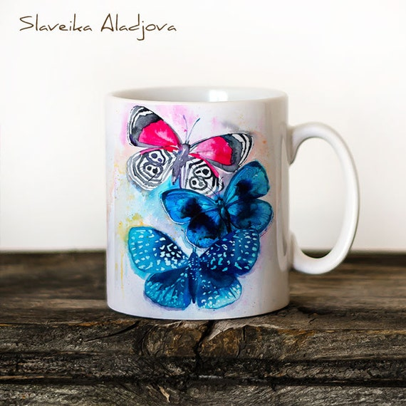 Butterflies 2 Mug Watercolor Ceramic Mug Unique Gift Coffee Mug Animal Mug Tea Cup Art Illustration Cool Kitchen Art Printed mug