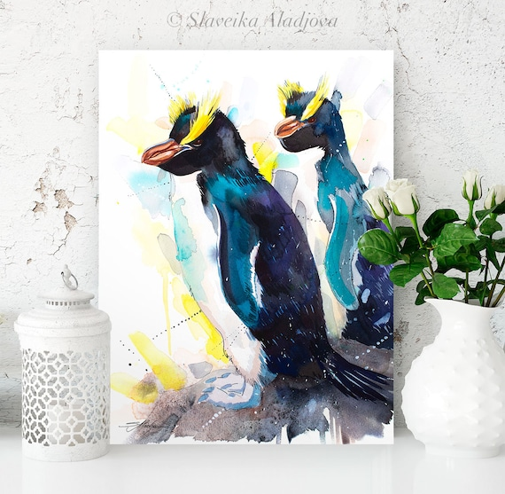 Erect-Crested Penguins watercolor painting print by Slaveika Aladjova, animal, illustration, Sea art, sea life art, nautical, ocean art,bird