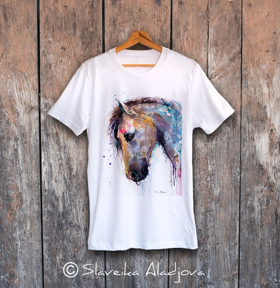 Horse T-shirt, Unisex T-shirt, ring spun Cotton 100%, watercolor print T-shirt, T shirt art, T shirt animal, XS, S, M, L, XL, XXL