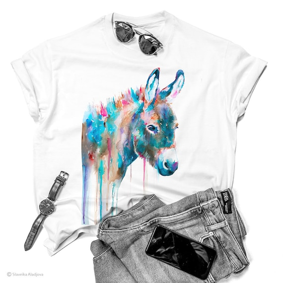 Donkey T-shirt, Watercolor ladies' T-shirt, women's tees, Donkey Lover Gift, Funny Donkey T-Shirt, ring spun Cotton 100%, watercolor print