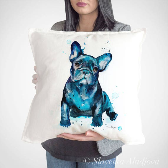 French Bulldog throw pillow cover by Slaveika Aladjova cushion cover, Decorative Pillow Cover, Animal Art, Watercolor pillow, Christmas gift