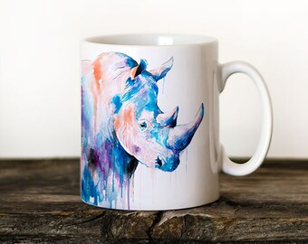 Rhino 2 Mug Watercolor Ceramic Mug Elephant Unique Gift Coffee Mug Animal Mug Tea Cup Art Illustration Cool Kitchen Art Printed mug