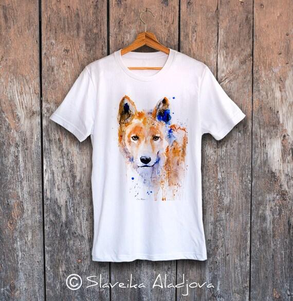 Coyote T-shirt, Unisex T-shirt, ring spun Cotton 100%, watercolor print T-shirt, T shirt art, T shirt animal,XS, S, M, L, XL, XXL