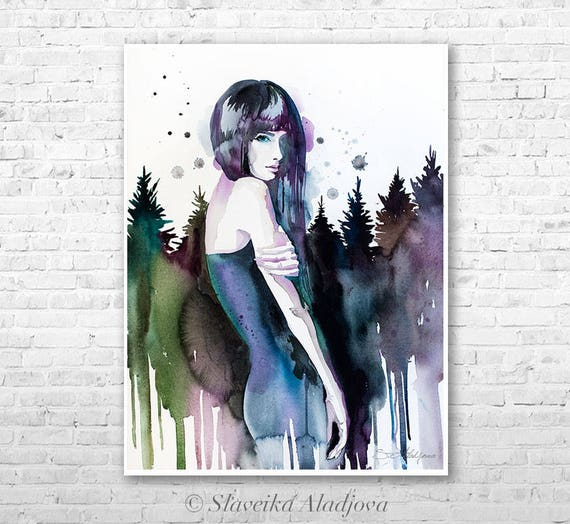 Forest girl watercolor painting print by Slaveika Aladjova, Fashion Illustration, Woman art, Illustration, watercolour, wall art, forest