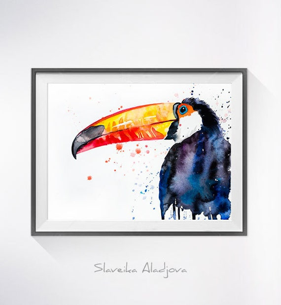 Original Watercolour Painting- Toco Toucan art, animal, illustration, animal watercolor, animals paintings, animals, portrait,