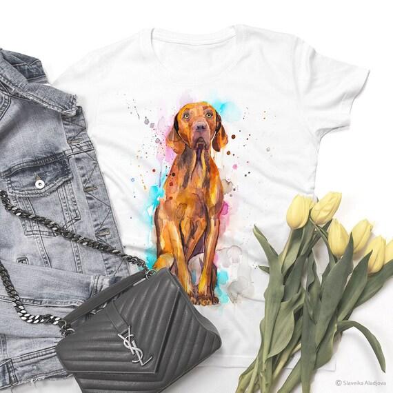 Vizsla Dog watercolor ladies' T-shirt, women's tees, Teen Clothing, Girls' Clothing, ring spun Cotton 100%, watercolor print