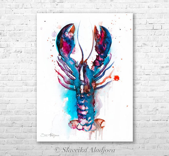 Lobster 2 watercolor painting print by Slaveika Aladjova, art, animal, illustration, Sea art, sea life art, nautical, ocean art, wall art