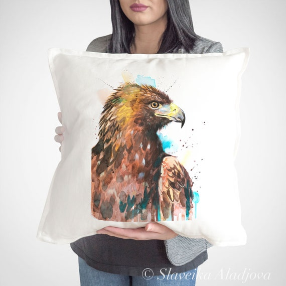 Golden Eagle throw pillow cover by Slaveika Aladjova, cushion cover, Decorative Pillow Cover, Animal Art, Watercolor pillow, Christmas gift