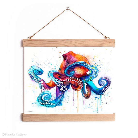 Octopus Watercolor Painting Framed, Wall Hanging print, Animal, Home Decor, Wall Art, Illustration, Ready to Hang, Nursery, Print