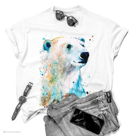Polar bear watercolor ladies' T-shirt, women's tees, Teen Clothing, Girls' Clothing, ring spun Cotton 100%, watercolor print T-shirt,art