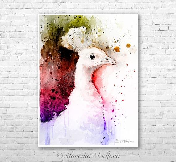 White Peacock 2 watercolor painting print by Slaveika Aladjova, art, animal, illustration, bird, home decor, wall art, gift, Wildlife