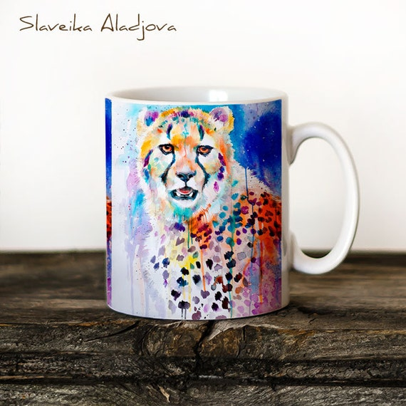 Cheetah Mug Watercolor Ceramic Mug Bear Unique Gift Coffee Mug Animal Mug Tea Cup Art Illustration Cool Kitchen Art Printed mug