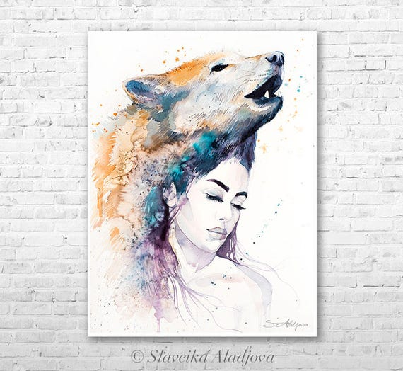 Wolf Girl watercolor painting print by Slaveika Aladjova, Fashion Illustration, Woman art, Illustration, watercolour, wall art, home decor