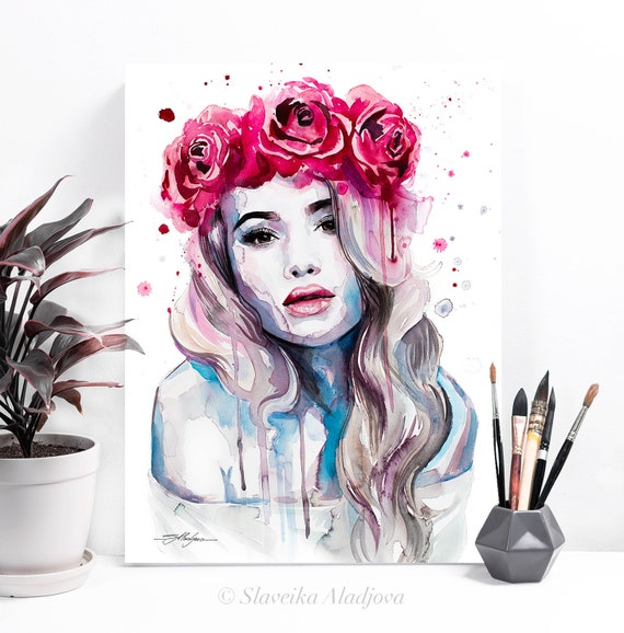 Red Rose Crown watercolor painting print by Slaveika Aladjova, Fashion Illustration, Illustration, watercolour, wall art, home decor