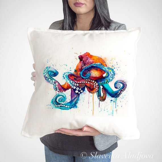 Octopus watercolor throw pillow cover by Slaveika Aladjova, cushion cover, Decorative Pillow Cover, Art, Watercolor pillow, Christmas gift